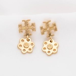 Tory Burch LOGO charm Drop Gold Earrings